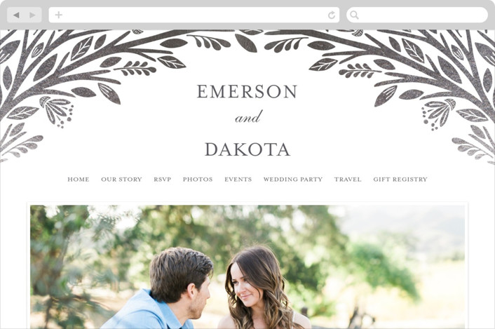 This is a silver wedding website by Griffinbell Paper Co. called Isola Bella printing on digital paper.