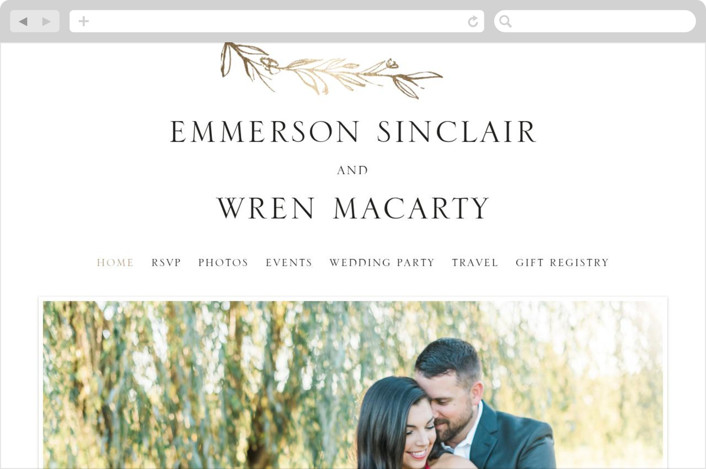 """""""Metallic Branches"""" - Rustic Wedding Websites in Gold by Mere Paper."""