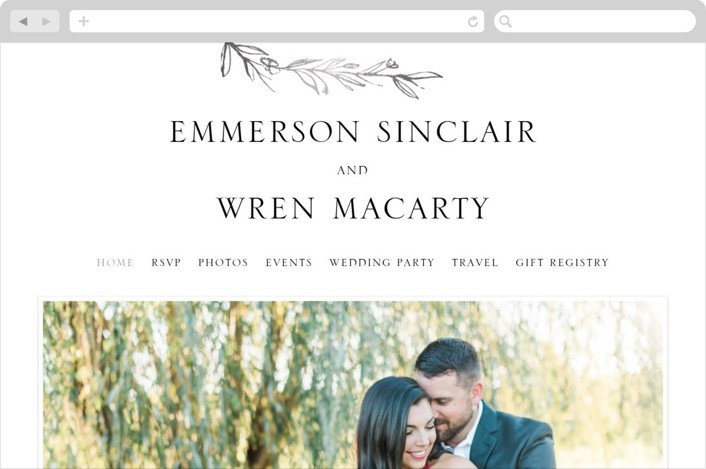 This is a silver wedding website by Mere Paper called Metallic Branches printing on digital paper.