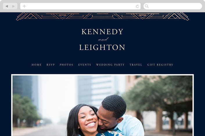 """Opulent Border"" - Wedding Websites in Navy by Hooray Creative."