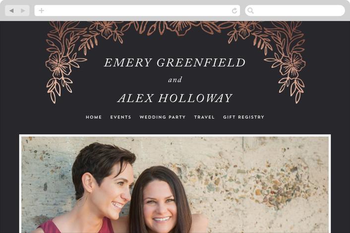 """Foiled Corners"" - Wedding Websites in Charcoal by Katharine Watson."