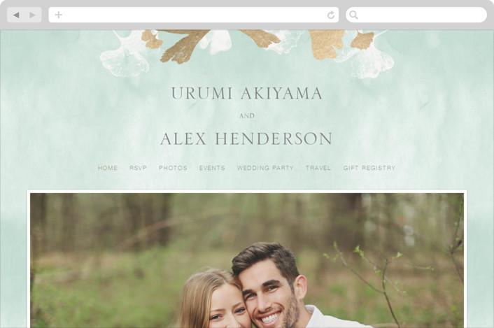 """Ginkgo Flutters"" - Wedding Websites in Mint by Monica Cheng."