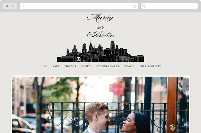"""Big City - Philadelphia"" - Wedding Websites in Light Taupe by Hooray Creative."