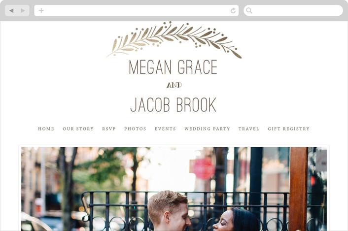 """""""Framed Wreath"""" - Wedding Websites in Mocha by Anupama."""