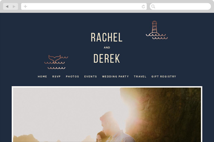 """Nautical By Nature"" - Wedding Websites in Navy by Dana Beckwith."