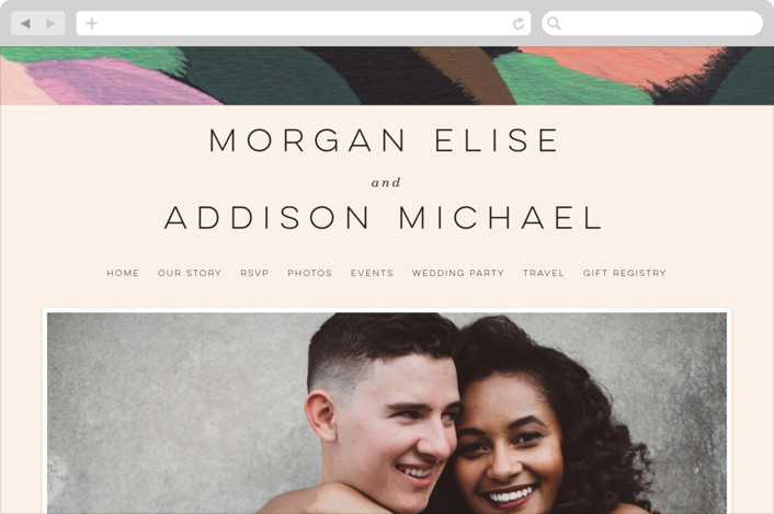 This is a colorful wedding website by Moglea called Adagio printing on digital paper.