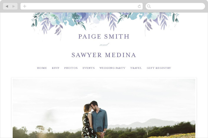 This is a blue wedding website by Grace Kreinbrink called Big Blooms printing on digital paper.