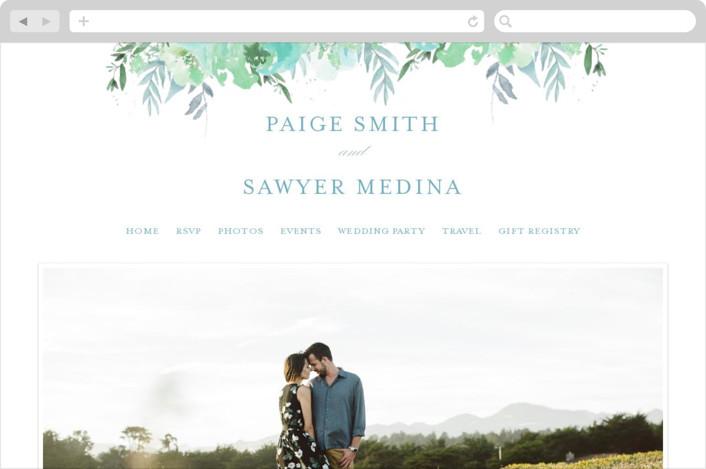 This is a blue wedding website by Grace Kreinbrink called Big Blooms printing on digital paper.