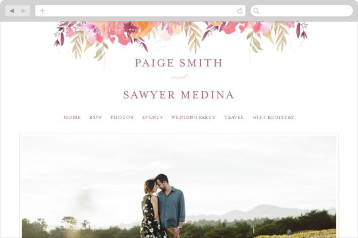 This is a pink wedding website by Grace Kreinbrink called Big Blooms printing on digital paper.