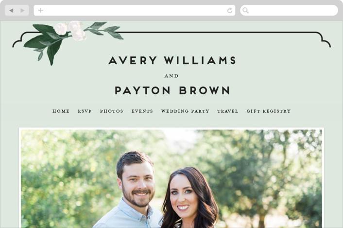 """Botanical Name Plate"" - Floral & Botanical, Rustic Wedding Websites in Sage by Shiny Penny Studio."