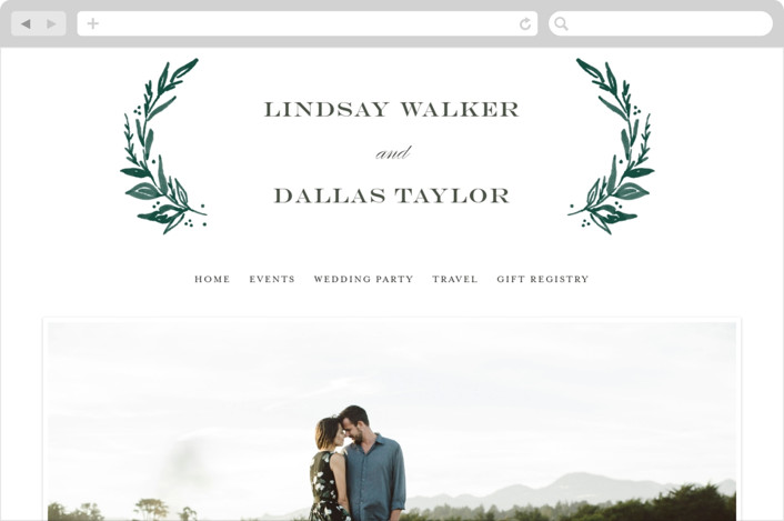 """Elegant Crest"" - Rustic, Modern Wedding Websites in Forest Green by Alethea and Ruth."