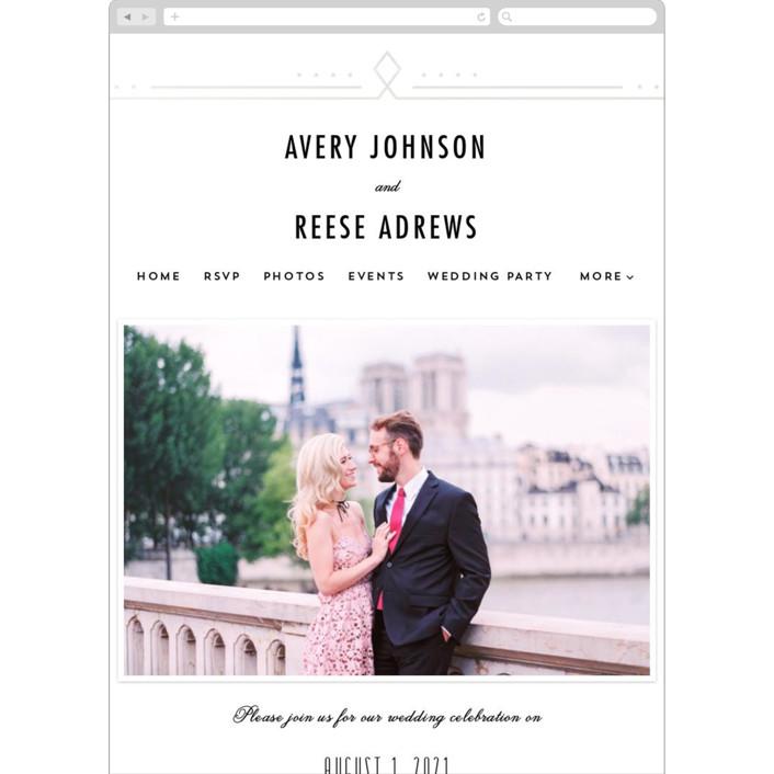 """Framed Deco Elegance"" - Vintage Wedding Websites in Classic White by Kelly Schmidt."
