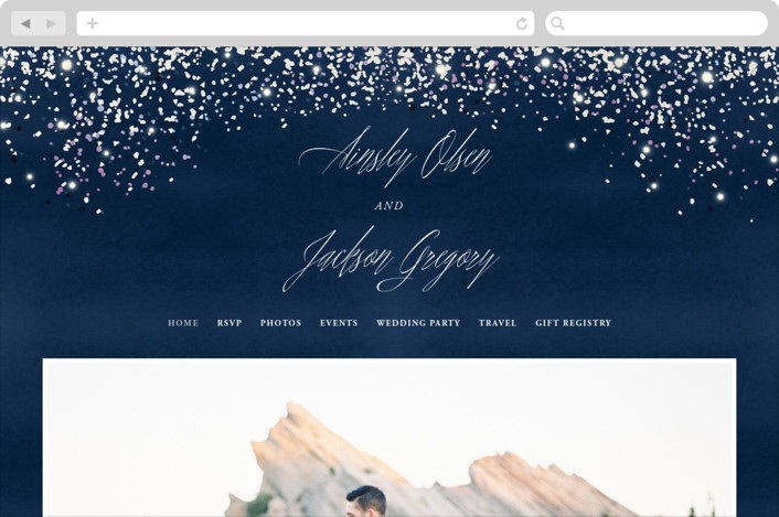 This is a blue wedding website by Hooray Creative called Sparkling Night Sky printing on digital paper.