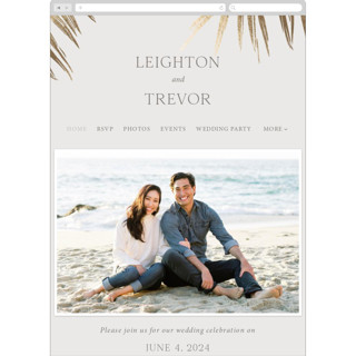 This is a beige wedding website by Melinda Denison called Gilded Palm printing on digital paper in standard.