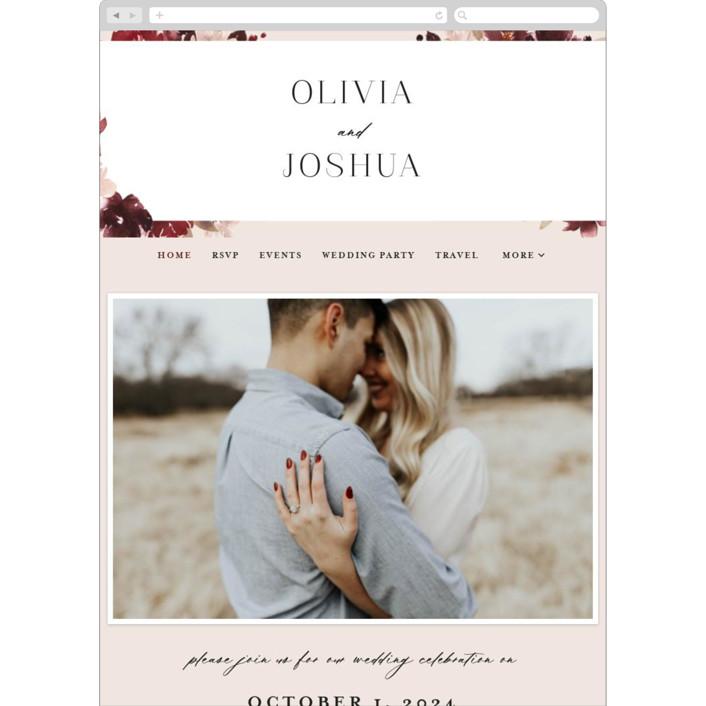 """Emyn"" - Wedding Websites in Burgundy by Itsy Belle Studio."