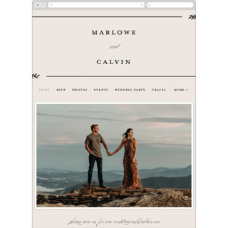 This is a beige wedding website by Brianne Larsen called surround printing on digital paper in standard.