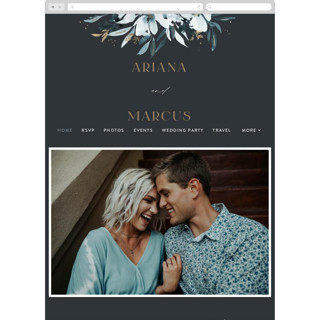 This is a blue wedding website by Leah Bisch called Romance printing on digital paper in standard.