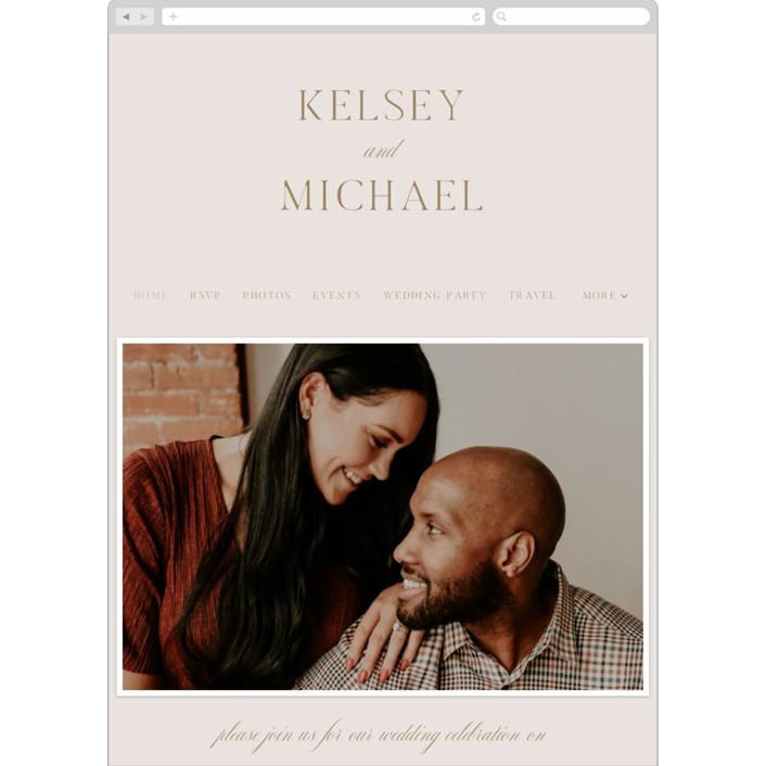 """Emblem"" - Wedding Websites in Champagne by Everett Paper Goods."