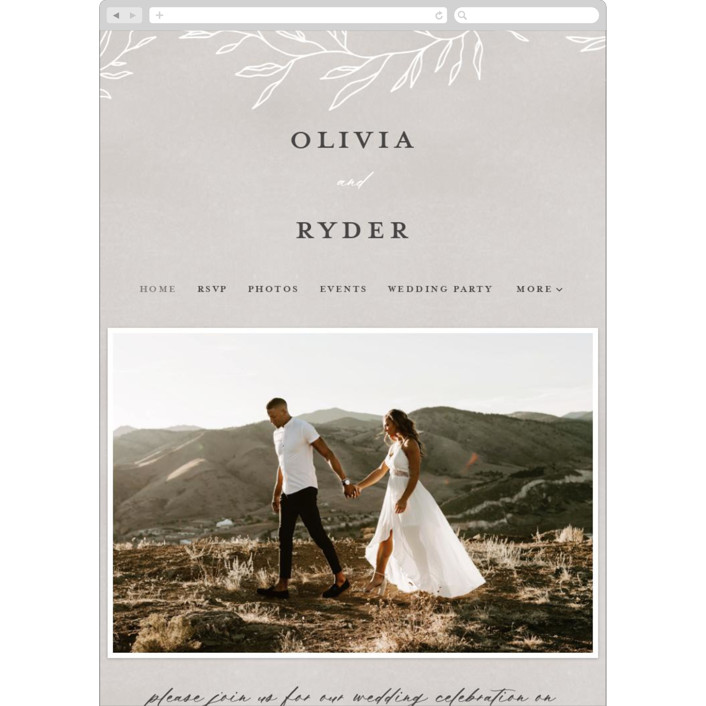 """Abundant Wreath"" - Bohemian Wedding Websites in Fog by Pixel and Hank."