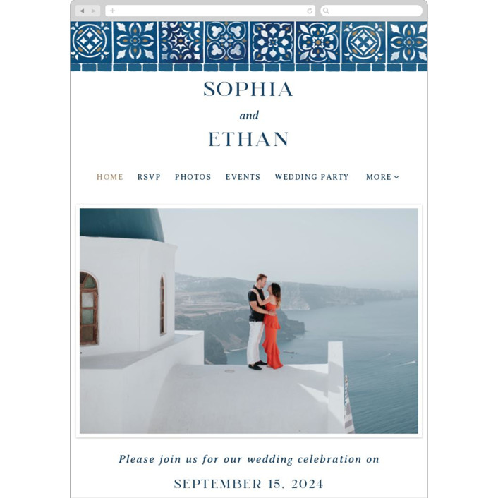 """Mediterranean Tiles"" - Wedding Websites in Ocean by GeekInk Design."