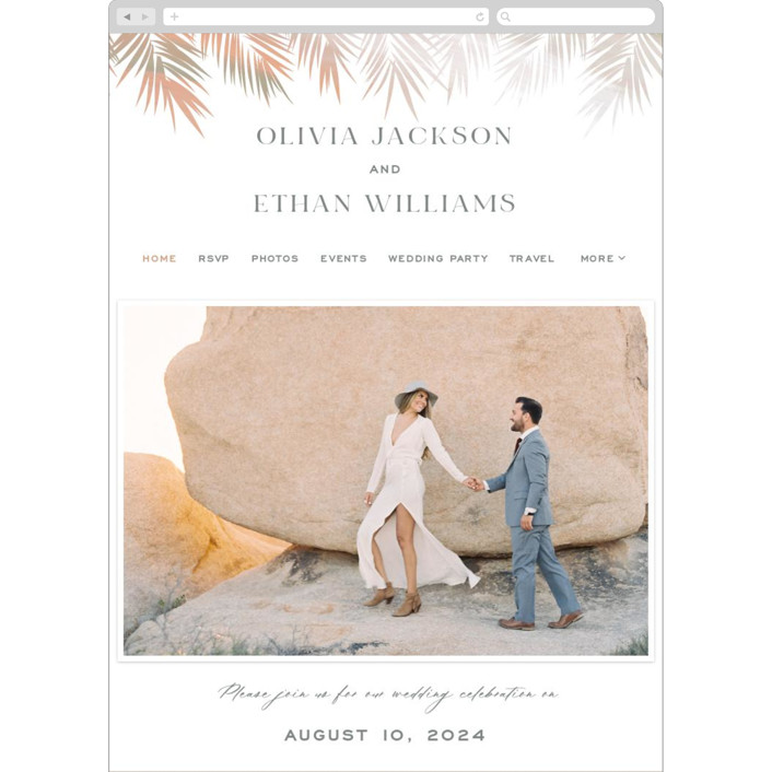 """""""Painted Leaves"""" - Bohemian Wedding Websites in Coconut by Owl and Toad."""