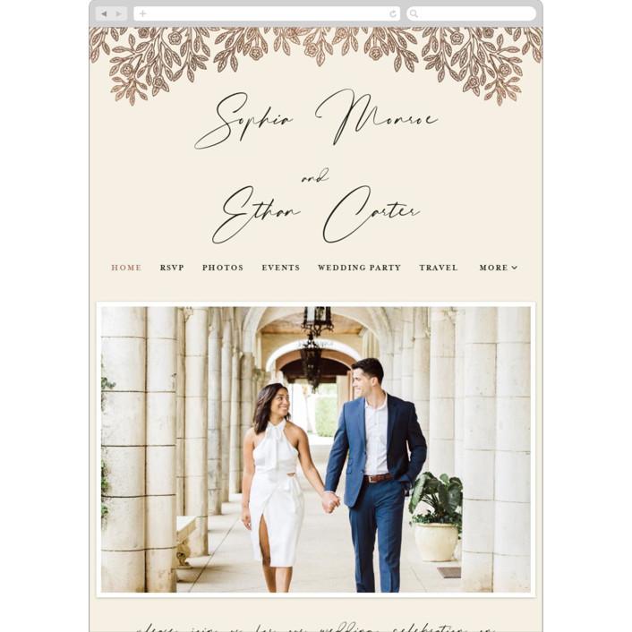 """""""Heirloom Branches"""" - Vintage Wedding Websites in Cream by GeekInk Design."""