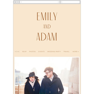 This is a orange wedding website by April Astudillo called Classic Touch printing on digital paper in standard.