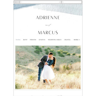 This is a blue wedding website by Erin L. Wilson called Trio printing on digital paper in standard.