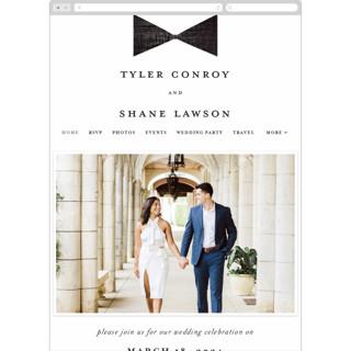 This is a black wedding website by Gwen Bedat called Beau tied printing on digital paper in standard.