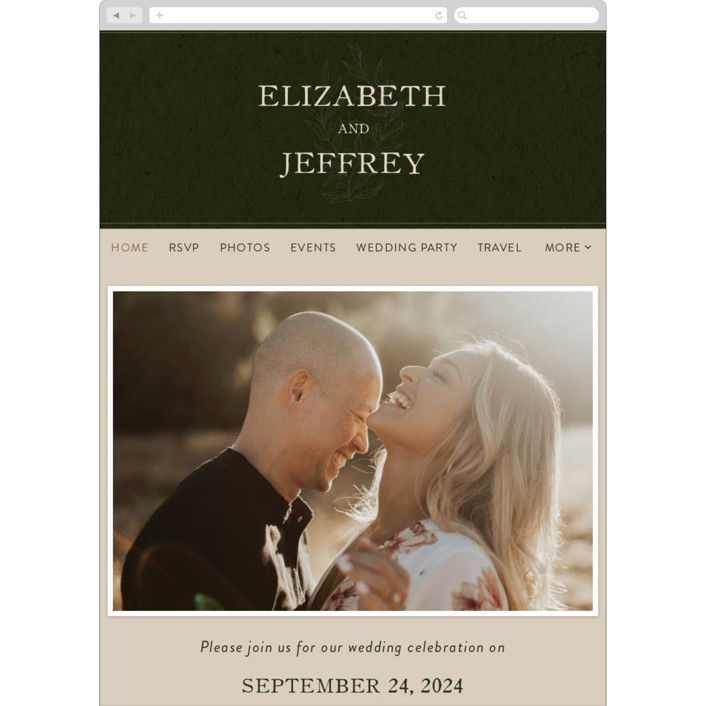"""""""delicate seal"""" - Bohemian, Modern Wedding Websites in Olive by Lindsay Stetson Thompson."""