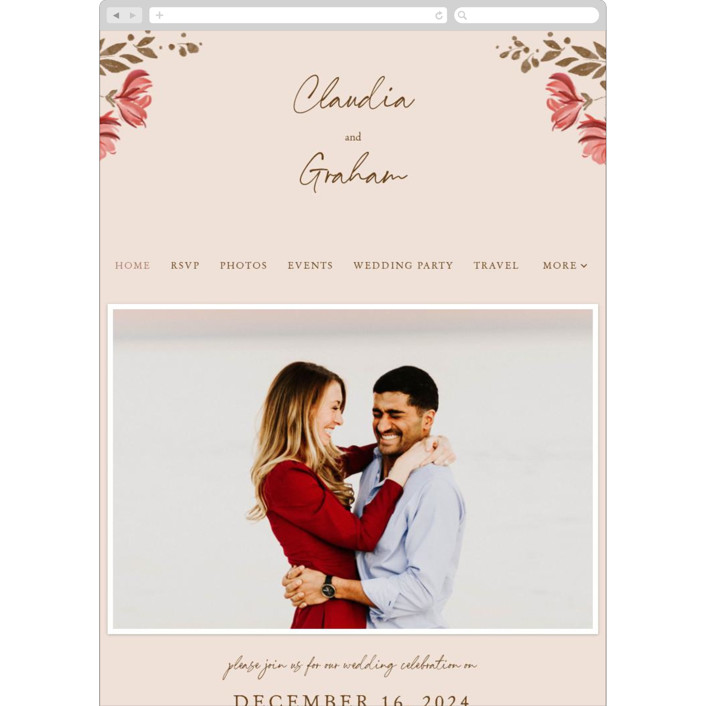 """""""Painterly Florals"""" - Wedding Websites in Scarlet by Vivian Yiwing."""