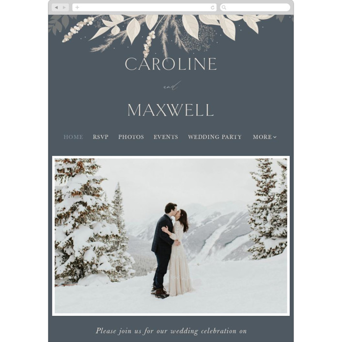 """Winter White Botanicals"" - Bohemian Wedding Websites in Slate by Erin Deegan."