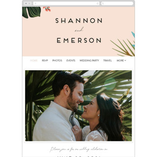 This is a pink wedding website by Joanna Griffin called Tropical Oasis printing on digital paper in standard.