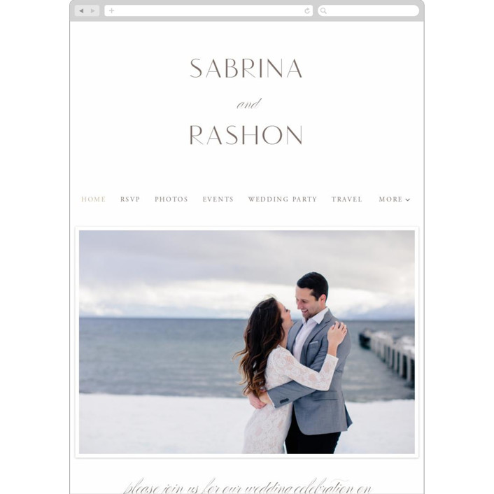 """Gilded Ampersand"" - Wedding Websites in Pearl by Hooray Creative."
