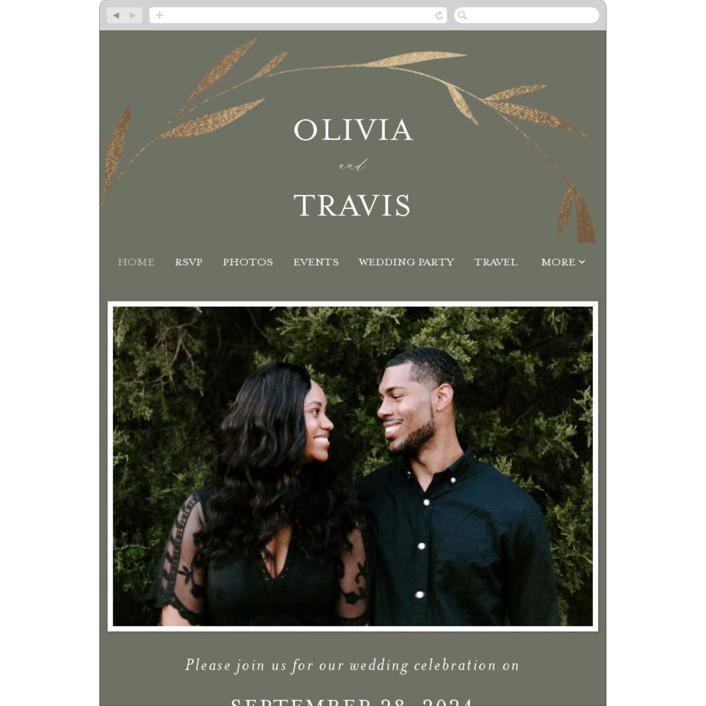 """Minimal Circle"" - Wedding Websites in Moss by Kelly Schmidt."