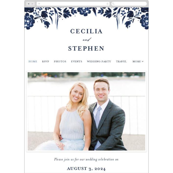 """brushstrokes in bloom"" - Wedding Websites in Indigo by Angela Marzuki."