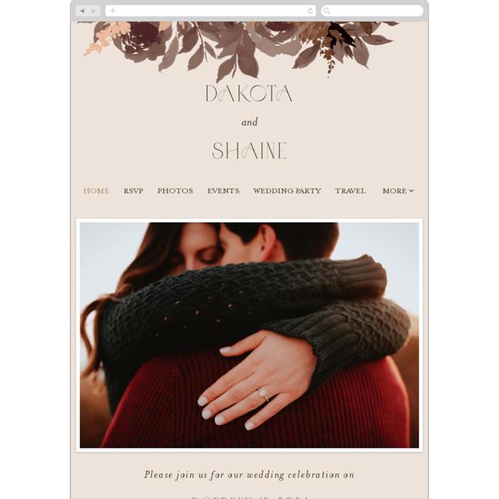 """Blooms"" - Wedding Websites in Mauve by Everett Paper Goods."