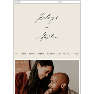 This is a white wedding website by Hannah Williams called Tilted Script printing on digital paper in standard.