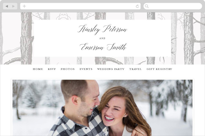 """Winter Birch"" - Rustic, Destination Wedding Websites in Taupe by Kelly Schmidt."