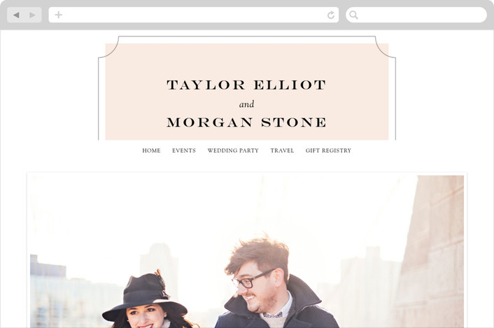 """Nobility"" - Elegant, Classical Wedding Websites in Blush by Alston Wise."