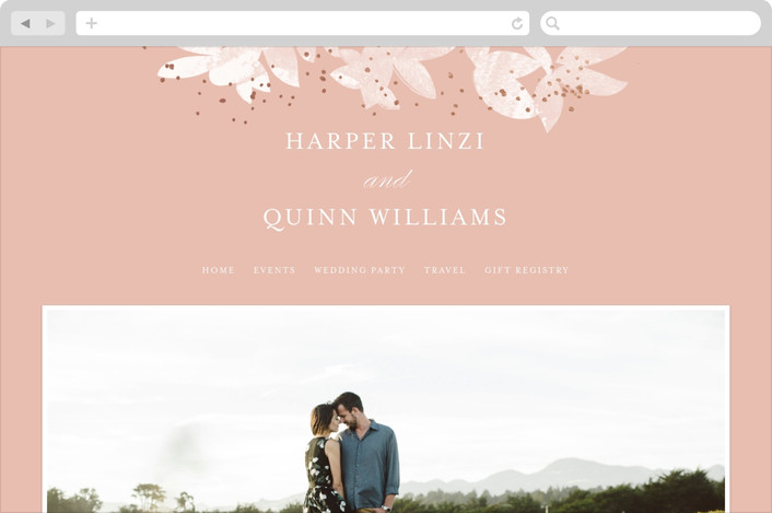 """Midsummer Romance"" - Floral & Botanical Wedding Websites in Blush by Pistols."