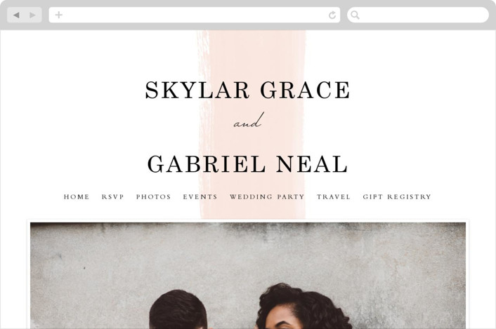 """Single Swath"" - Abstract, Modern Wedding Websites in Blush by Angela Marzuki."