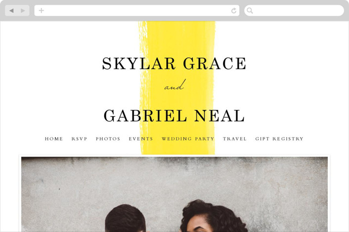 This is a yellow wedding website by Angela Marzuki called Single Swath printing on digital paper.