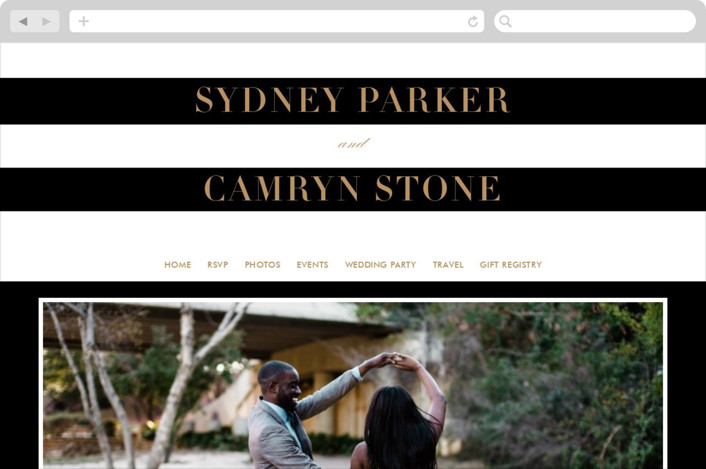 """""""Fashion District"""" - Wedding Websites in Black Tie by Jill Means."""