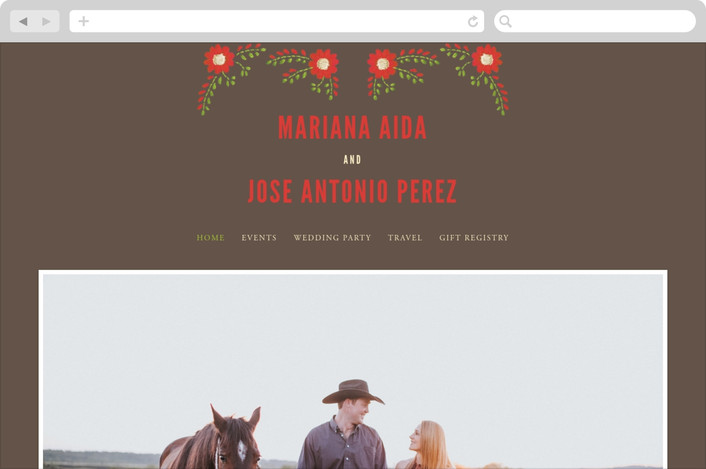 """Mexican Ties"" - Floral & Botanical Wedding Websites in Cocoa by Sandy Pons."