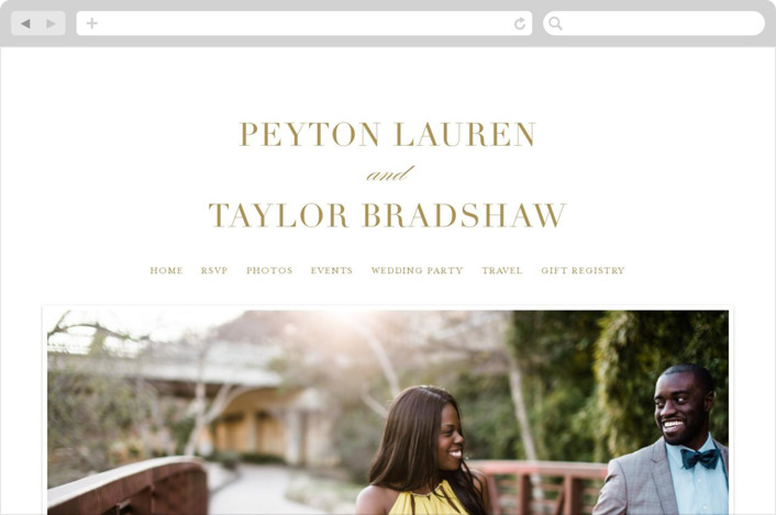 This is a gold wedding website by Lauren Chism called Classic printing on digital paper.