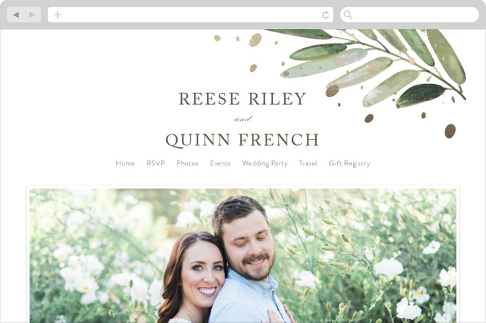 This is a white wedding website by Haley Warner called Al Fresco printing on digital paper.