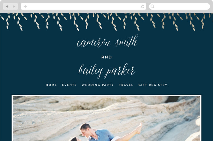 This is a blue wedding website by Anupama called Foil Foliage printing on digital paper.