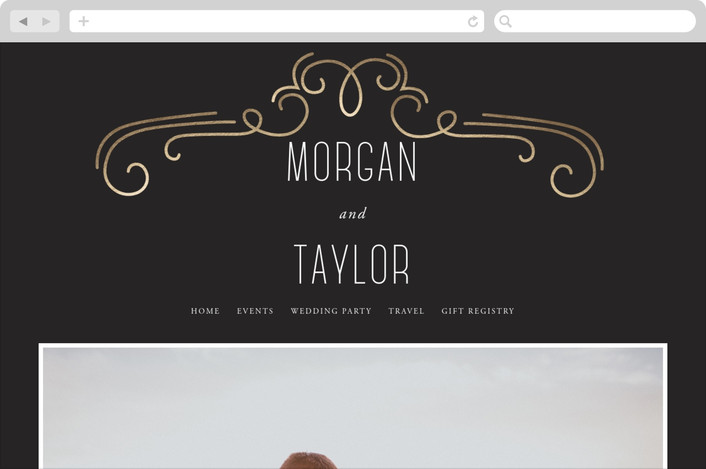"""Modern Scrolls"" - Wedding Websites in Charcoal by SunnyJuly."