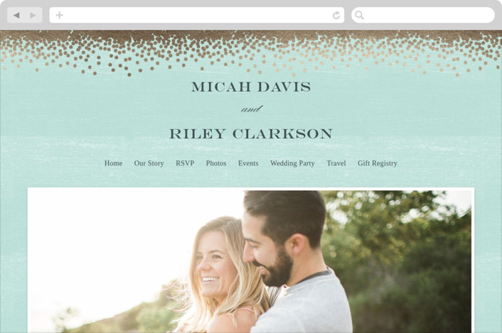 """Confetti"" - Wedding Websites in Teal by Eric Clegg."
